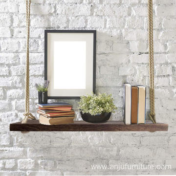 Eco- friendly wooden bathroom wall shelf
